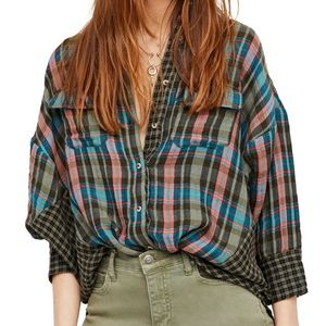 Free People One of the Guys Plaid Button Down